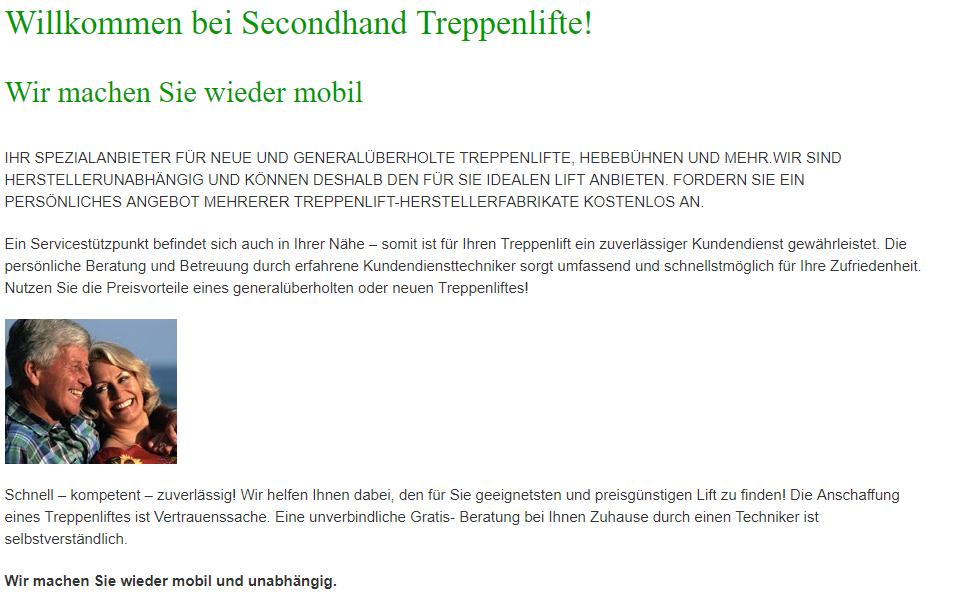 Treppenlifte in Hamburg - Second Hand Lifte: Treppensteiger, Senkrechtaufzüge, Plattformlifte, Treppenraupen, Deckenlifte